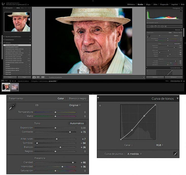 Retrato de persona mayor. Ajustes básicos