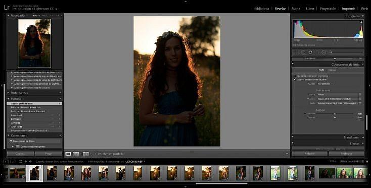Retrato en exterior con luz natural. Ajustes Previos